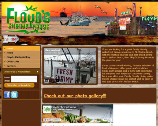 Shrimp House Restaurant Website